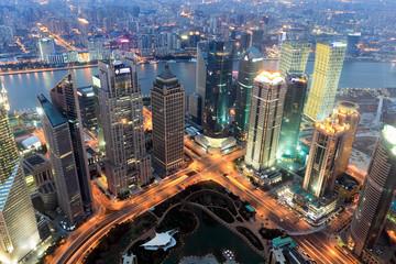 Aluminium Prints Shanghai shanghai financial center at dusk