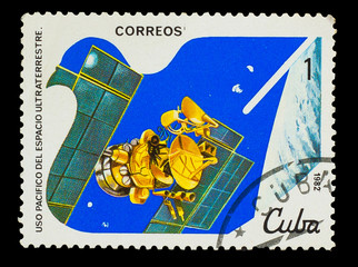 CUBA - CIRCA 1982: A stamp printed in CUBA, dresearch satellite,