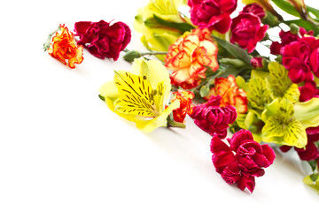 Alstroemeria and red carnations