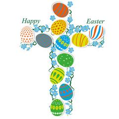 cross of Easter eggs