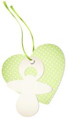 Hangtag Pacifier & Heart Dots Green Bow