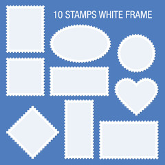 10 Blank Stamps White Frame Blue Background