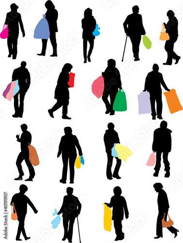 Wall mural FEMMES ET LE SHOPPING TWO