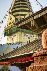 Swayambhunath stupa during sunset in Kathmandu, Nepal