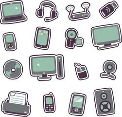 cartoon technology icons 1