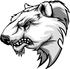 Polar Bear Mascot Head Vector Cartoon