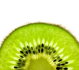 Aluminium Prints Slices of fruit Slice of a fresh Kiwi / Super Macro / back lit