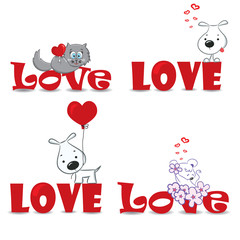 "A vector set of funny animals on the red word ""love"""