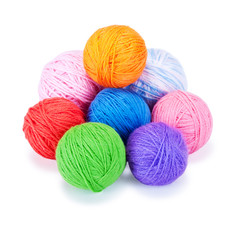Several multi-colored woolen balls