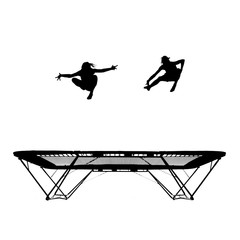 Wall Mural - silhouette of female gymnasts on trampoline