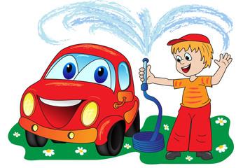 Cadres-photo bureau Voitures enfants Car wash
