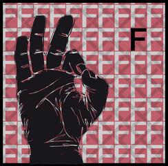 Sketch of Sign Language Hand Gestures, Letter f