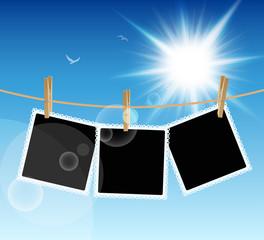Hanging Pictures on blue sky background. Vector illustration.