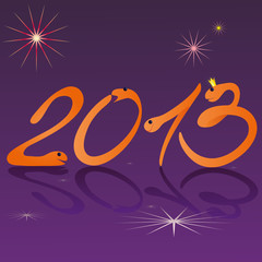 Funny snakes and symbols of 2013 New Year purple background