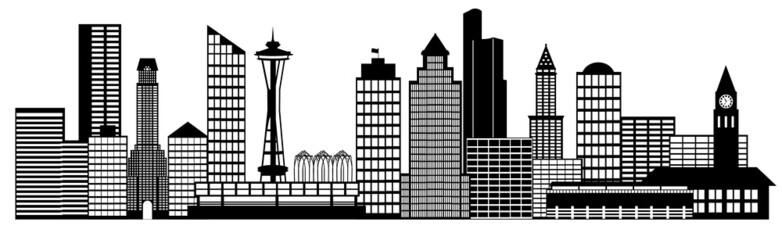 Seattle City Skyline Panorama Clip Art