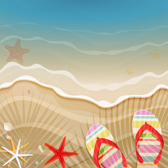 Wall Mural - Flip-flops and shells on the beach.