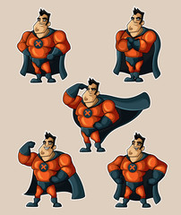 Photo sur cadre textile Super heros Superhero in a suit with a cape in various poses