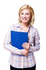 junge blonde Frau mit Heftern