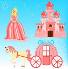 Door stickers Castle Fairytale cartoon illustration set