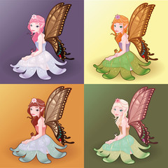 Young fairies. Funny cartoon and vector illustration.