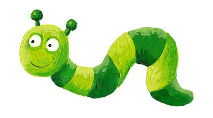 Funny green worm crawling