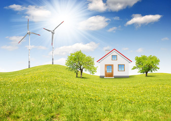 The house in spring landscape with wind turbine