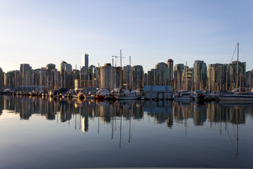 Coal Harbour, Vancouver reflects in early morning light