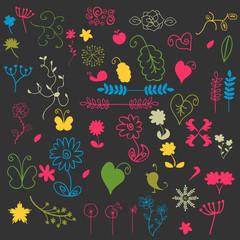A set of floral elements