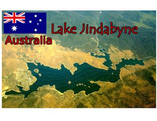 lake jindabyne australia map flag emblem