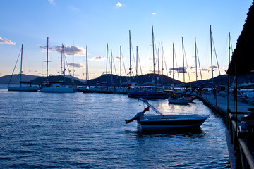 Yachts in evening