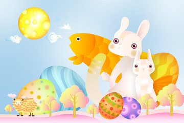 Lovely Easter Dream with rabbit cat