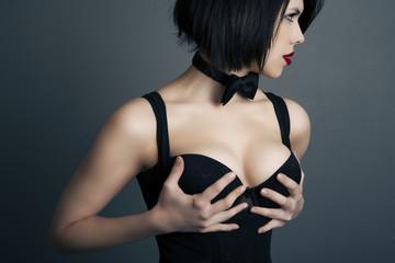 portrait of a beautiful elegant woman in lingerie