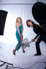 male and female models in a photographic studio
