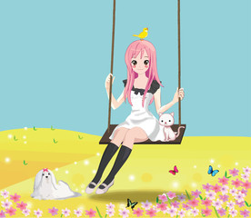 Cute girl on the swing with her cat and other animals.