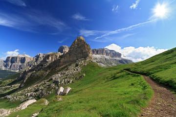 Dolomiti - path over Pordoi pass, Trentino, italy