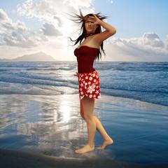 model in the wind