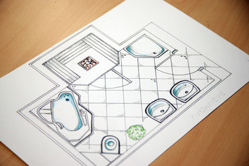 Planung eines Umbaues und der Renovierung eines Badezimmers