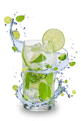 Printed kitchen splashbacks Splashing water Fresh mojito drink with splash spiral around glass.