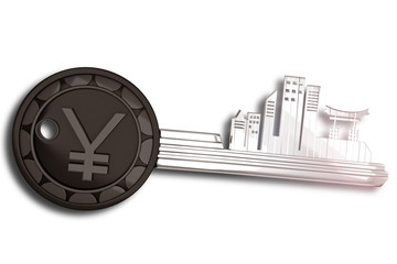 Key Ring withJapan cityscape