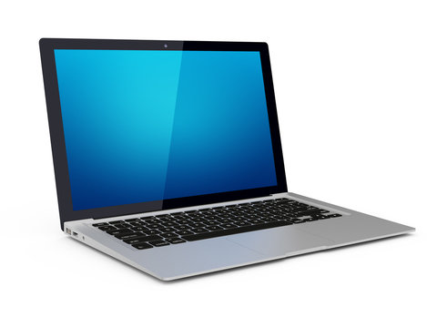 Modern laptop with blank screen, has a clipping path for screen.