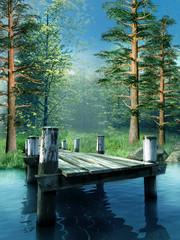 Wall Mural - Drewniane molo na niebieskim jeziorze