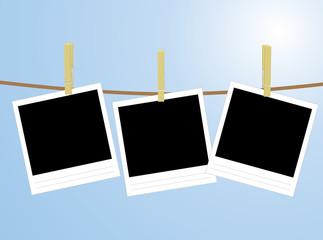 three photos hanging on rope vector illustration