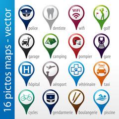 set 16 icons, pictos, symboles, logos, maps