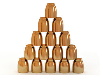 Gold glasses combined by a pyramid on a white background