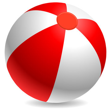 Red and white beach ball isolated on white.