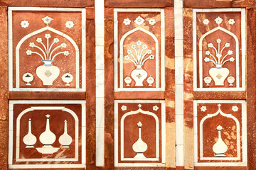 Wall Mural - Details of marble surface with stone inlay.