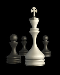 Chess king standing isolated on black background