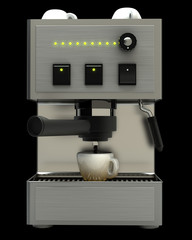 modern coffee machine isolated on black