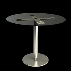 3d modern round table isolated on black