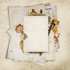 Vintage background with old cards and filmstrip